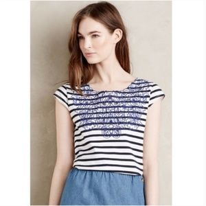 Meadow Rue Palermo Striped Embroidered Top